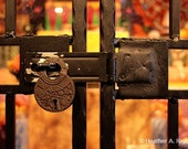 All Locked Up, black, orange, square, lock, colorful, lines, bars, gold, red, photograph