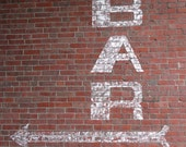 Bar Sign on Red Brick Photograph, white, pattern, kitchen, drink, photograph