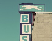 Greyhound Bus Sign, Vintage, travel, blue, teal, white, turquoise, photograph