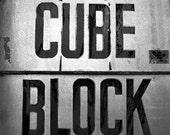 Cube Block black and white, 8x8