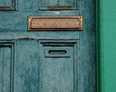 Blue Door, Mail slot, green,  Square Photograph