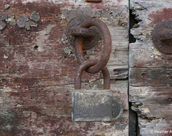 Rusty Italian Lock on a Weathered Wood, rustic, padlock, detail, brown, gray,, photograph