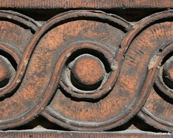 Tan, Terracotta, Architectural Detail, Guilloche, Brown, circle, spiral, photograph