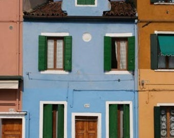 Blue House with Green Shutters - Burano Italy, photograph