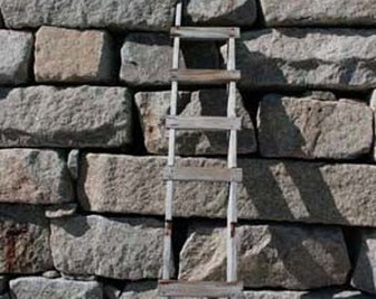 Ladder with Stone Wall and Blue Sky, wall, gray, brown, granite, photograph