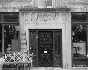 Antique Store Front Black and White Photograph