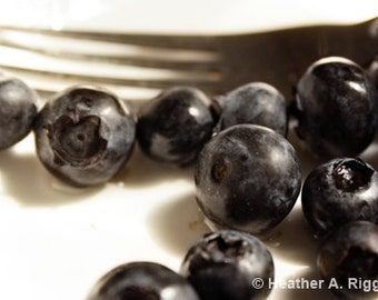 Blueberries with a Fork Breakfast Photograph, kitchen decor, fruit, blue