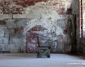 Abandoned Bench in a Brick Room, photograph