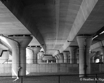 Highway Underpass Black and White Photograph, lines, simple, city, gray, columns, concrete, travel