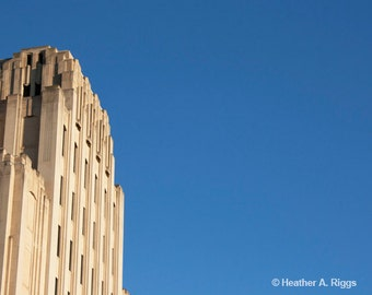 Blue Sky with Building, Minimalist , Photograph, tan, architecture, photograph