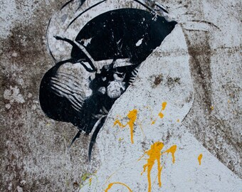 Abstract Figure Graffiti, black, gray, gold, orange, head, photograph