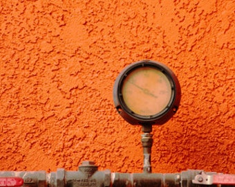 Orange Wall, Gauge, Bright, Bold, Vibrant, Industry, photograph