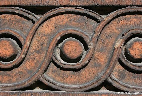 Tan, Terracotta, Architectural Detail, Guilloche, Brown, circle, spiral, photograph