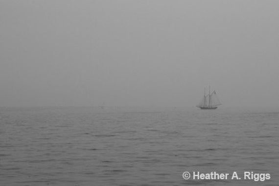 Foggy Day in Gloucester Harbor with Sail Boat, 8x12, photograph