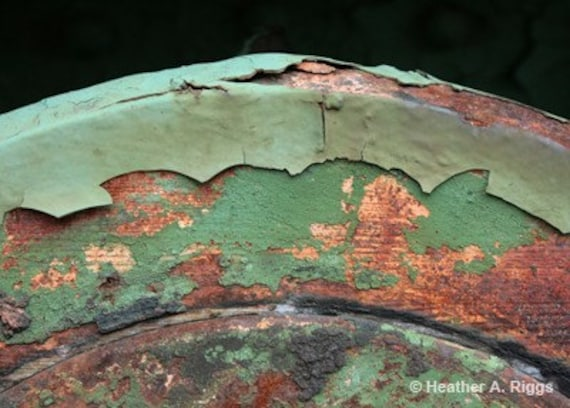 Green Peeling Paint Over A Rusty Mechanical Part By Shyphotog