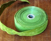 Vintage Avocado Green Velveteen Wired Ribbon Trim By the Yard