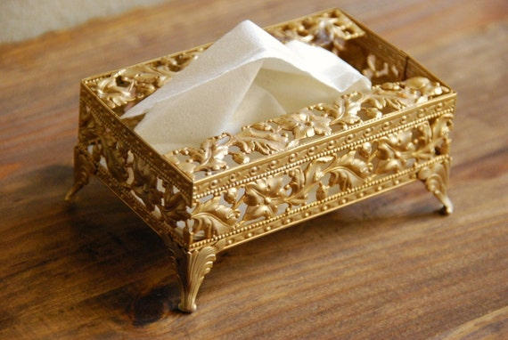 Vintage Gold Metal Filigree Mini Tissue Holder