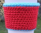 Crochet Coffee Sleeve in Red & Aqua