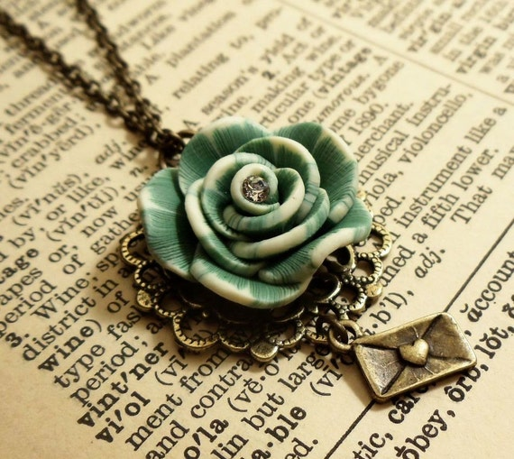 Vintage Peony (Blue Green) Necklace - best seller