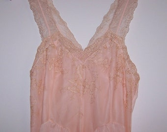 1950's Peach Blush long Nightie with embroidered Organdy Bodice and wide Ruffle.  Size S to M.