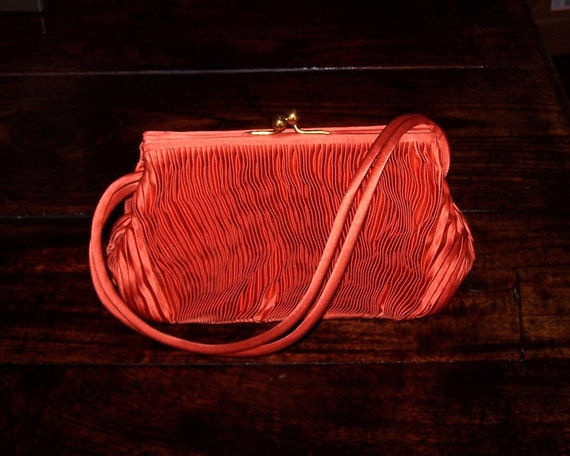 Vintage Purse Handbag Burnt Orange Satin Pleated - Made in Italy for Neiman Marcus - gorgeous and in MINT condition.