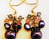 golden grape Pearl and Crystal cluster earrings