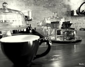Let's Meet for Tea // 5x7 Coffee Print // Black & White Photography