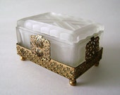 ART DECO Vanity Jewelry BOX Cut Glass Frosted with Filigree, Lalique Style c.1930s