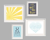 Kids Wall Art Eclectic Style  You Are My Sunshine  My only Sunshine 4 pc Art Print Set 11x14 and 8x10 in Aqua, Yellow and Grey FREE SHIPPING