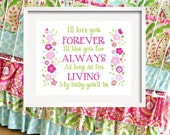 I'll LOVE you forever - Flower print for Kumari Garden Bedding, girl quote 11x14 by YassisPlace wall art