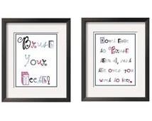 Brush Your Teeth  -Modern Children's Art  2 Pc Set 8 in x 10 in