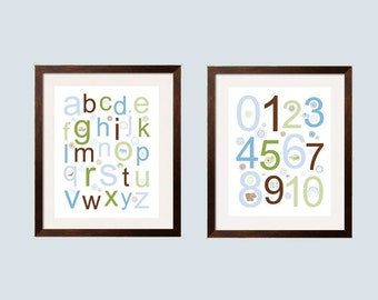 boy Wall Art, nursery decor Kids Wall Art 16x20 Poster Alphabet and Numbers 2 pc Modern Children's Art in green, brown, tan and blue