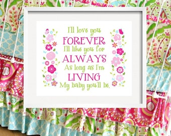 Girl Wall Art - I'll LOVE you forever - Flower print for Kumari Garden Bedding Pink Green Flowers, girl quote 8x10 by YassisPlace wall art