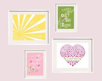 Penelope You Are My Sunshine Eclectic Print Set in yellow, green,and pink  Penelope Bedding 11x14 & 8x10 YassisPlace FREE SHIP