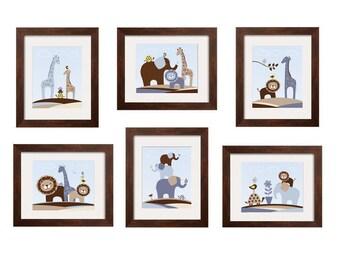 Baby Boy Wall Art, Elephant nursery decor Animal print set, giraffe lion turtle bird set of 6 prints 8x10 by YassisPlace UNFRAMED Prints