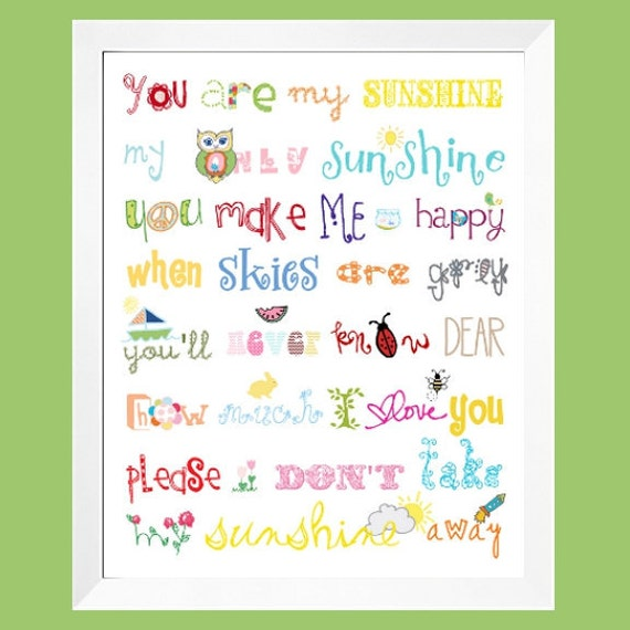 You Are My Sunshine Print 8 in x 10 in  Rainbow colors for boys and girls room decor by Yassisplace 009