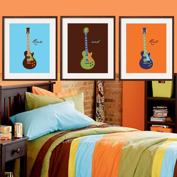 Boys Brown And Orange Bedding: Kids Wall Art Guitar In Aqua Blue Brown Orange And By