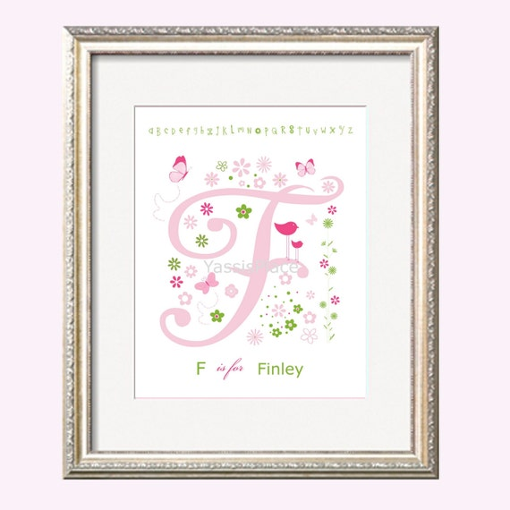 Girl Nursery Art, Personalized Name Signs, Art Print in Pink and Green Alphabet Flowers Birds Butterflies, 8x10