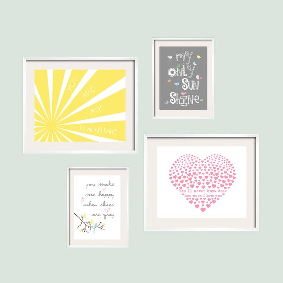 You Are My Sunshine Prints in yellow, grey, and pink pastel colors. 4 prints Set 8x10 and 5x7 by YassisPlace