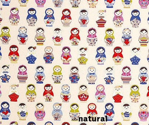 Russian Doll Canvas Cotton Fabric Natural Color 1yd