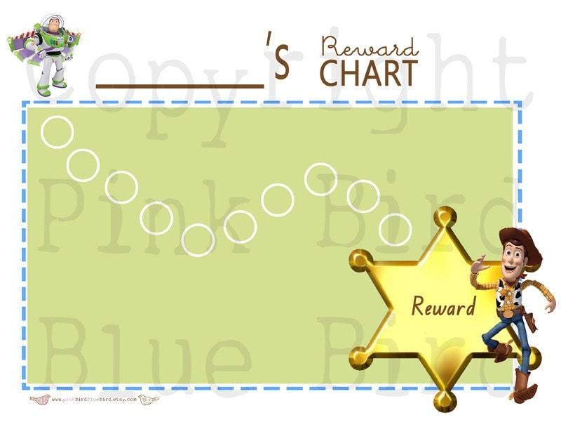 Toy Story Sticker Chart : Boys toy story reward chore chart by pinkbirdbluebird
