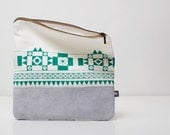 SALE Geometric Printed Leather-Suede Pouch emerald green