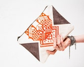 Geometrical Illusion Printed  Leather Pouch  Tangerine No. ZP-201