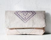 Geometrical Illusion Printed  Leather Pouch  lavender ipad case No. ZPB-102 - CORIUMI