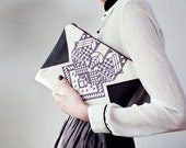 30% Xmas SALE Geometrical Illusion Printed  Leather Pouch  Lavender No. ZP-202