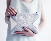 SALE Geometrical Illusion Printed  Leather Pouch  White No. ZP-204