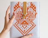 iPad CASE Geometrical Illusion   Leather Suede Tangerine No. IC-301