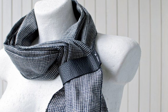 FREE SHIP Linen Scarf  With Leather Loop