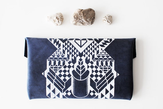 LAST ONE Geometrical Illusion Printed  Leather Pouch  Navy Blue