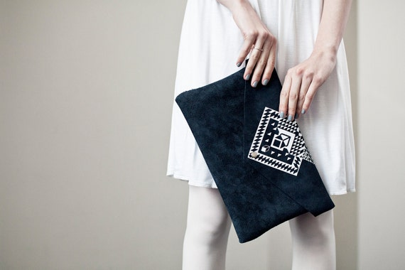 RESERVED Envelope Bag Geometrical Illusion Leather Suede Navy Blue with White No. EB-101